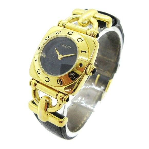 GUCCI 6300L Horsebit Gold Plated Ladies Quartz Wri